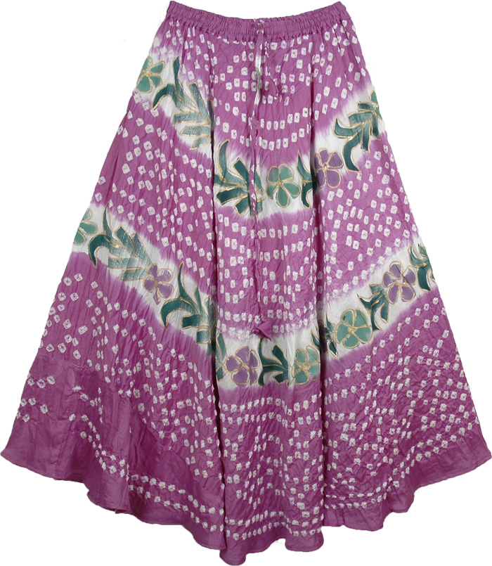 Tie Dye Long Skirt in Mauve, Orchid Tie Dye Summer Skirt