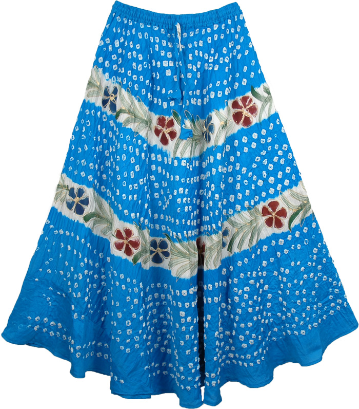 Blossom Blue Summer Party Skirt, Curious Blue Hand Painted Skirt