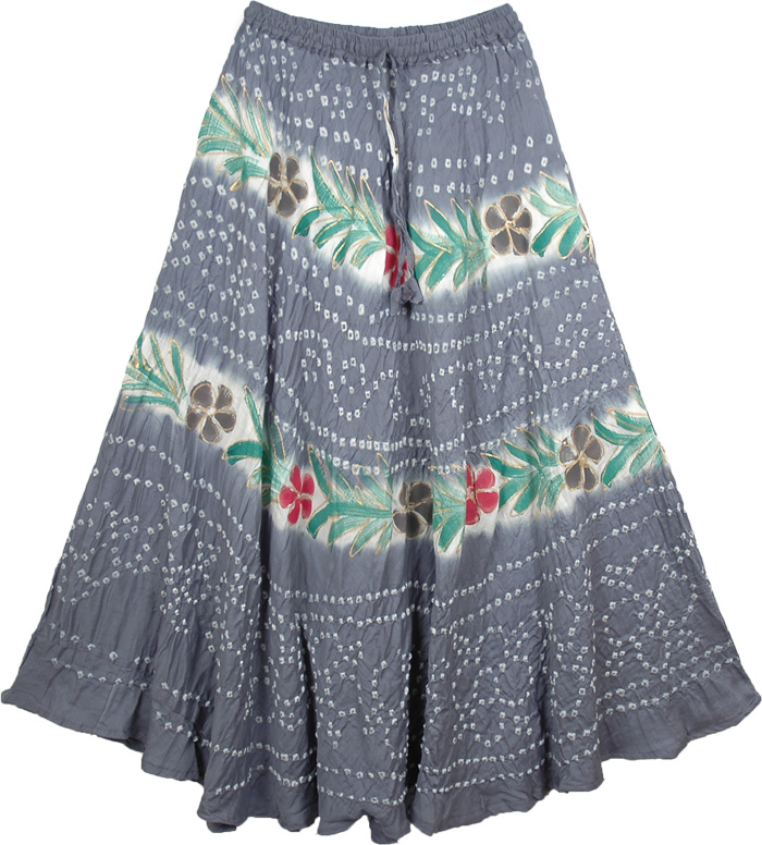 River Bed Gray Long Skirt, The Nevada Painted Skirt