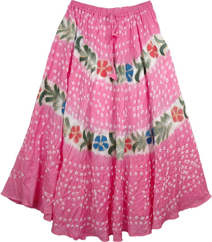 Fiesta Summer Long Skirt, Tickle Me Pink Fun Skirt