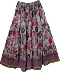 Dusty Nite Floral Cotton Print Long Skirt