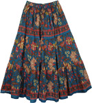Blumine Floral Print Cotton Long Skirt