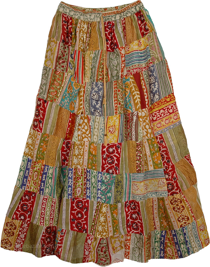 Patchwork Long Skirt in Brown - Clothing - Sale on bags skirts jewelry at polkadotinc.com