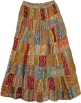 Earthen Patchwork Long Skirt