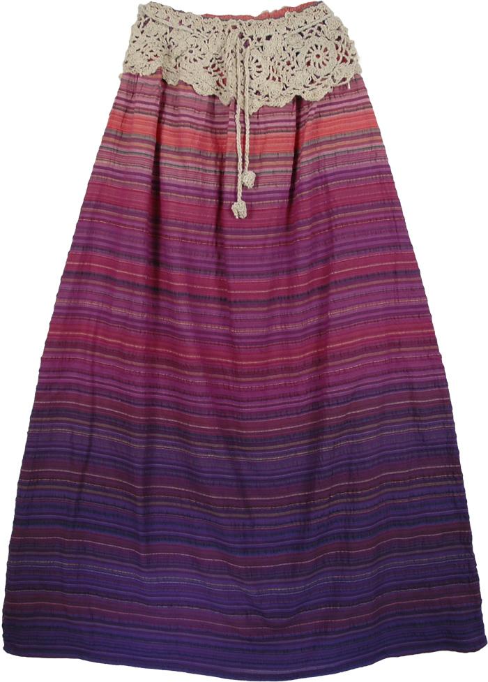 Crochet Band Cotton Indian Skirt, Genteel Cotton Crochet Skirt