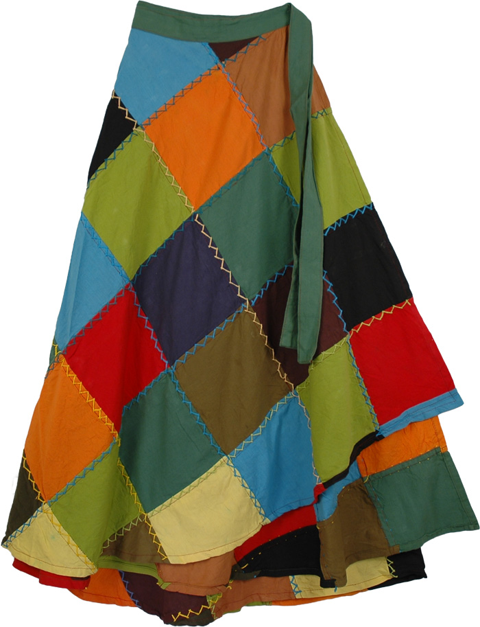 Squares Wrap Around Skirt, Deep Patchwork Wrap Around Fashion Skirt