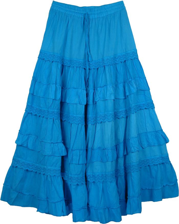 Blue Cotton Long Summer Skirt, Cerulean Blue Frills Celebration Skirt
