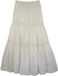 Petite XS Crochet White Summer Cotton Long Skirt