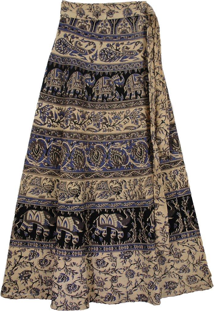 Blue Animals Long Length Skirt, Wilderness Bay Blue Wrap Skirt