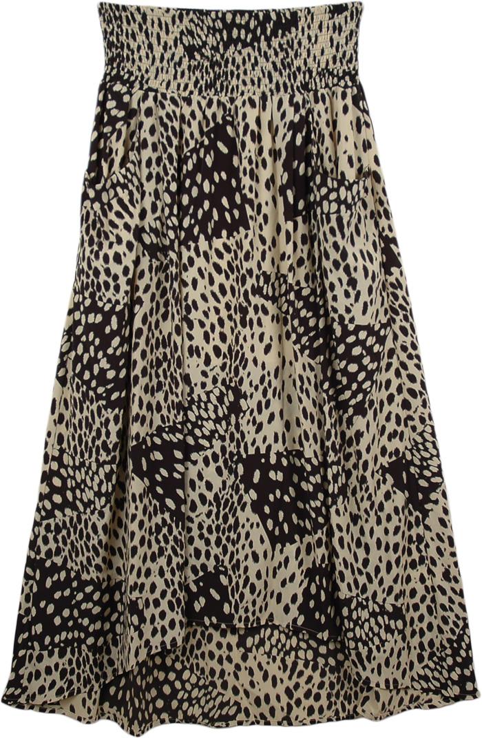 Black Sexy Flamingo Long Skirt , Flirty Animal Print Maxi Skirt