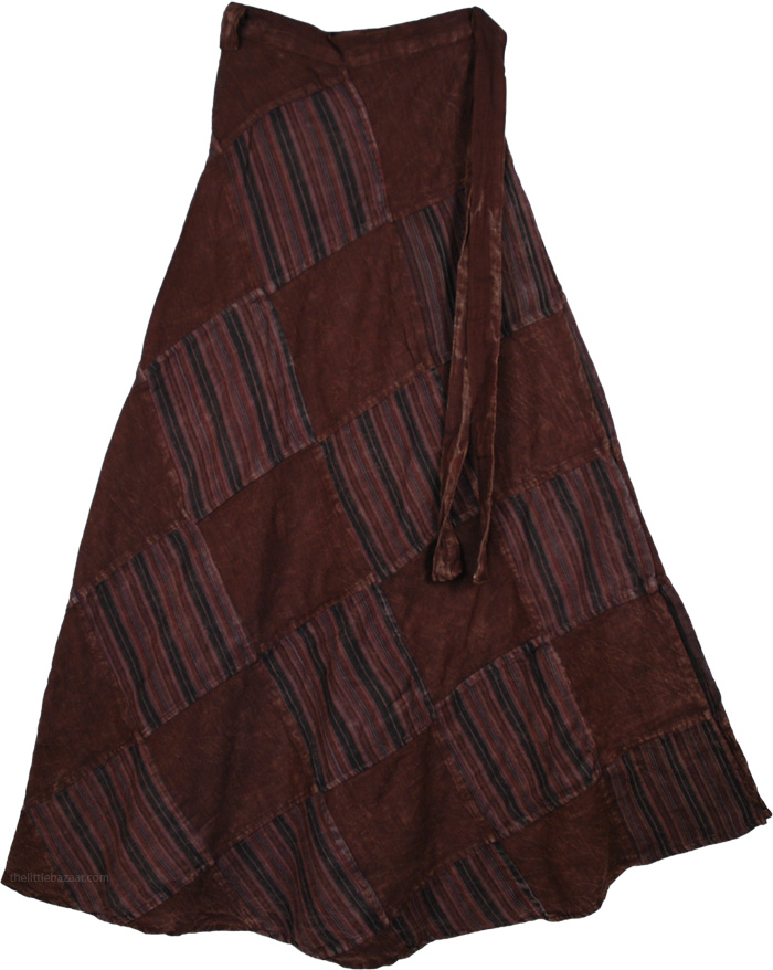 Patchwork Brown Wrap Around Skirt, Buccaneer Chocolate Wrap Long Skirt