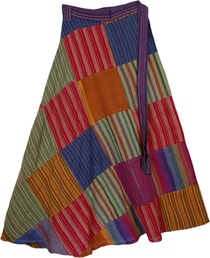 Colorful Striped Wrap Around Skirt, Seagull Free Wrap Around Skirt