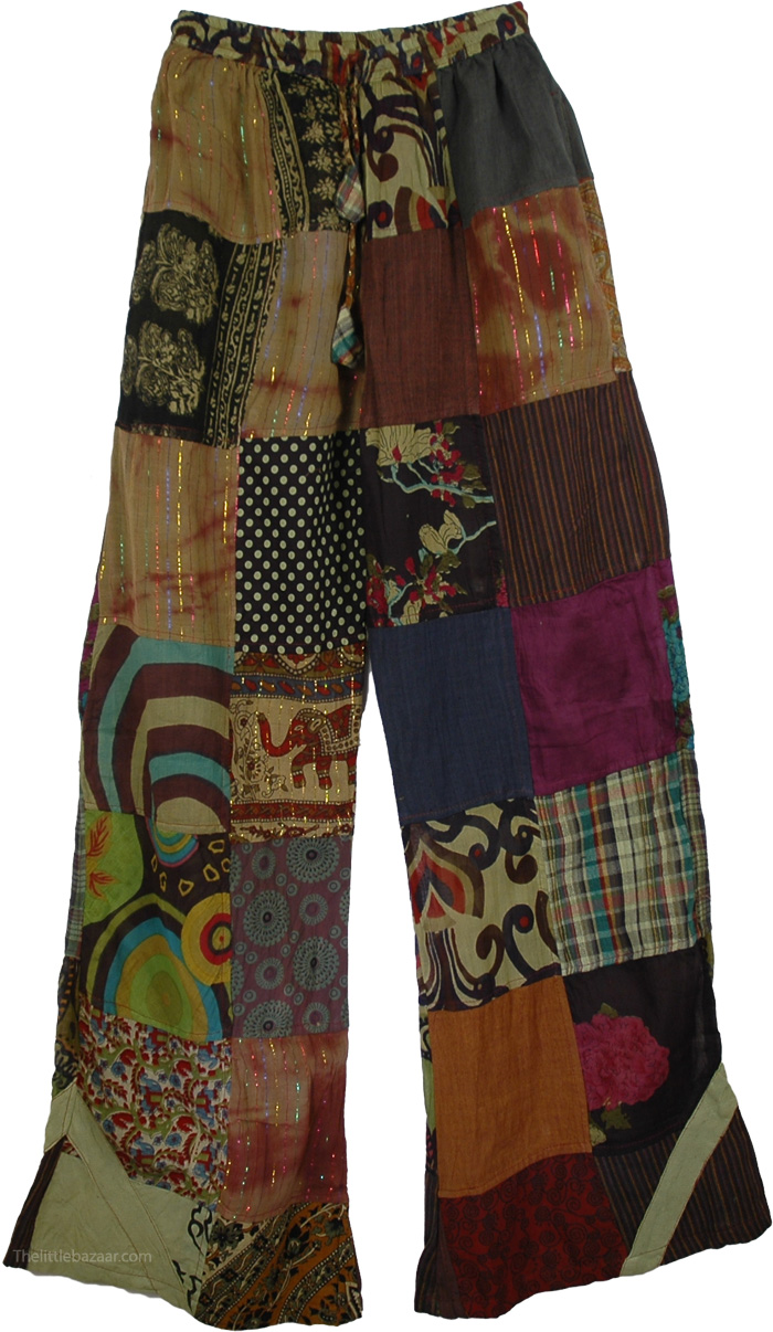 Long Boho Trousers Cotton Patchwork , Patchwork Gypsy Trouser