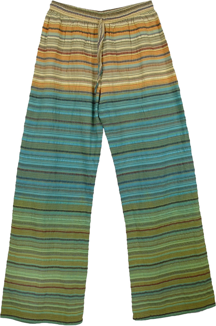 Boho Pants Cotton Green Striped, Tropical Stripes Boho Lounge Pants
