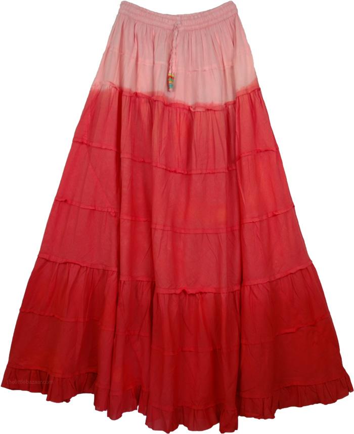 Three Reds Long Skirt, Red Robbin Ombre Frills Long Skirt