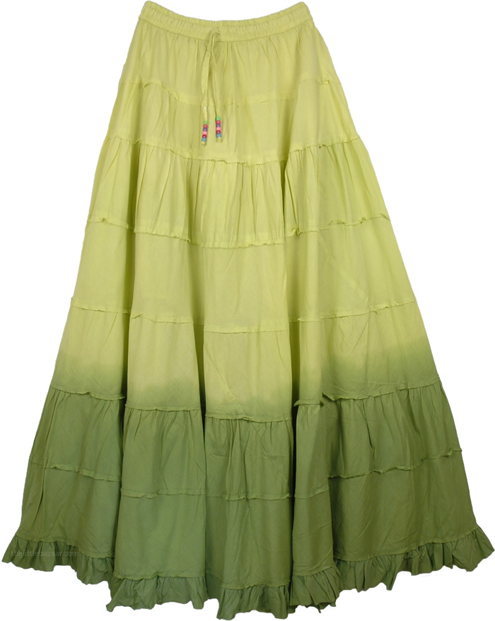Green Frills Long Cotton Skirt, Military Ombre Green Frills Long Skirt