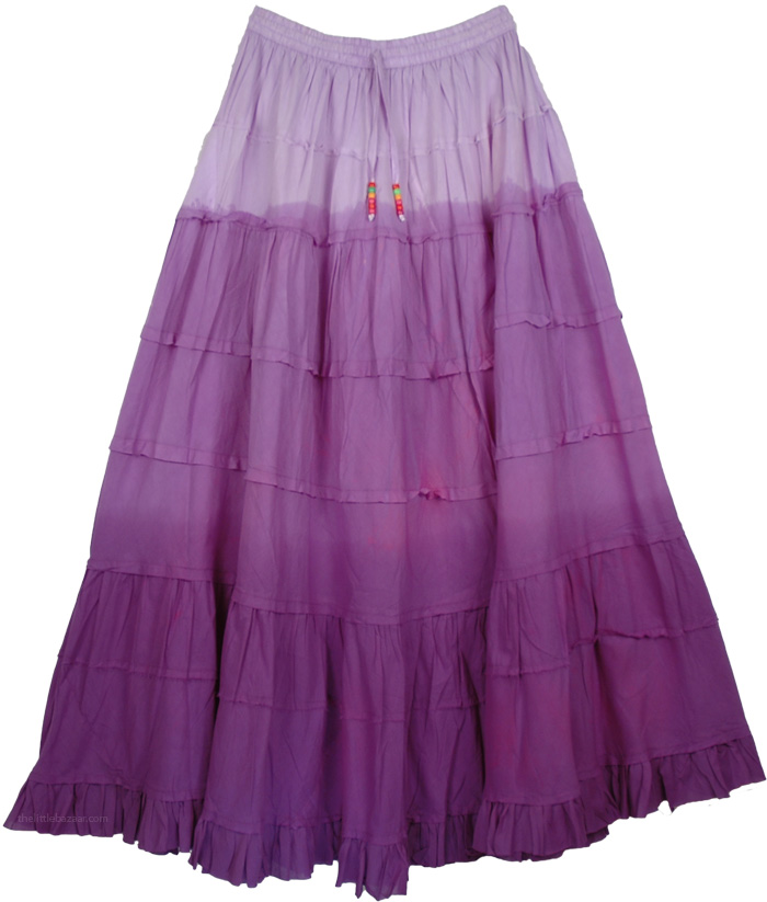 Three Purples Long Skirt, Tapestry Purple Frills Long Skirt