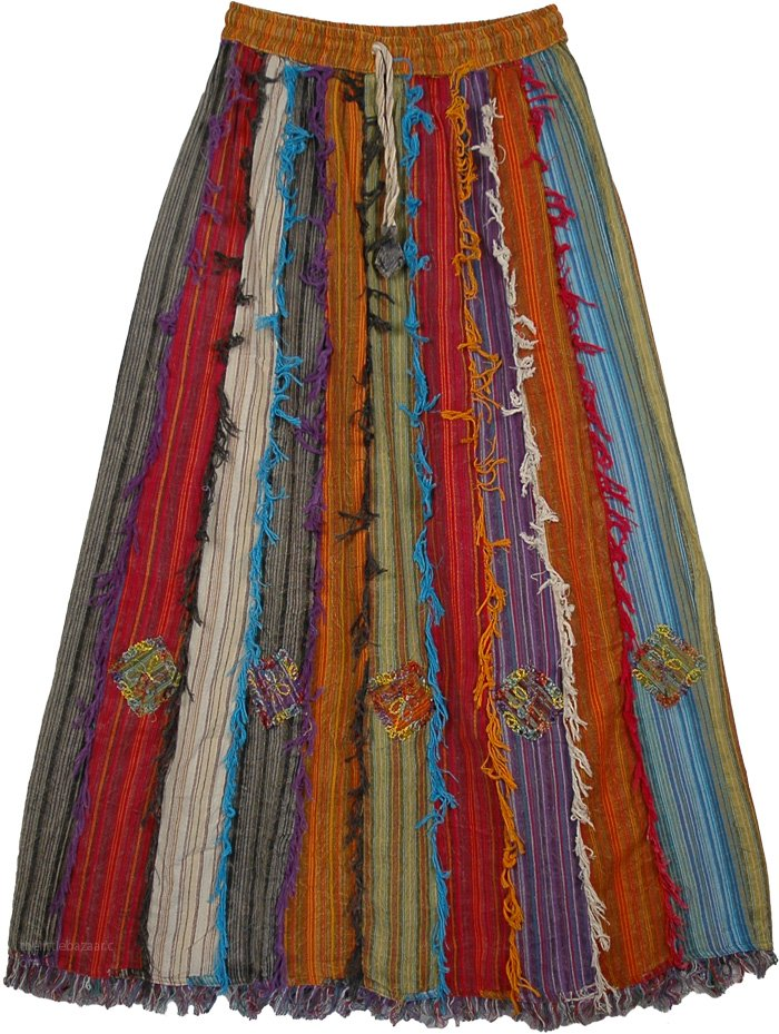 Multicolored Long Patch Skirt, Barista Patchwork Cotton Frill Skirt