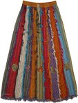 Multicolored Long Patch Skirt [3426]