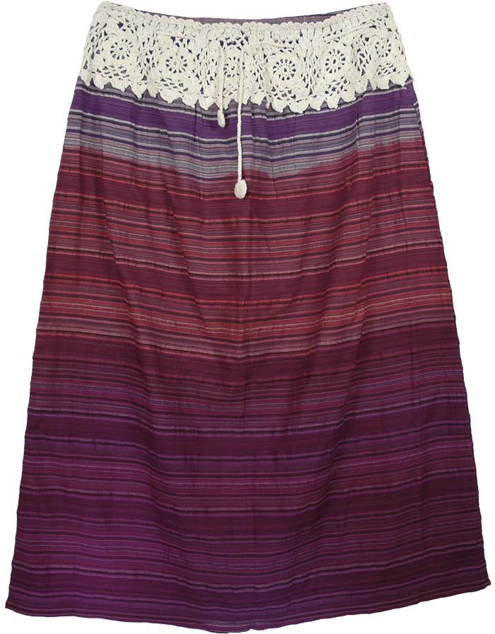 Crochet Band Cotton Indian Skirt Large Size, XL Genteel Cotton Skirt