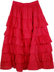Torch Red Layered Skirt
