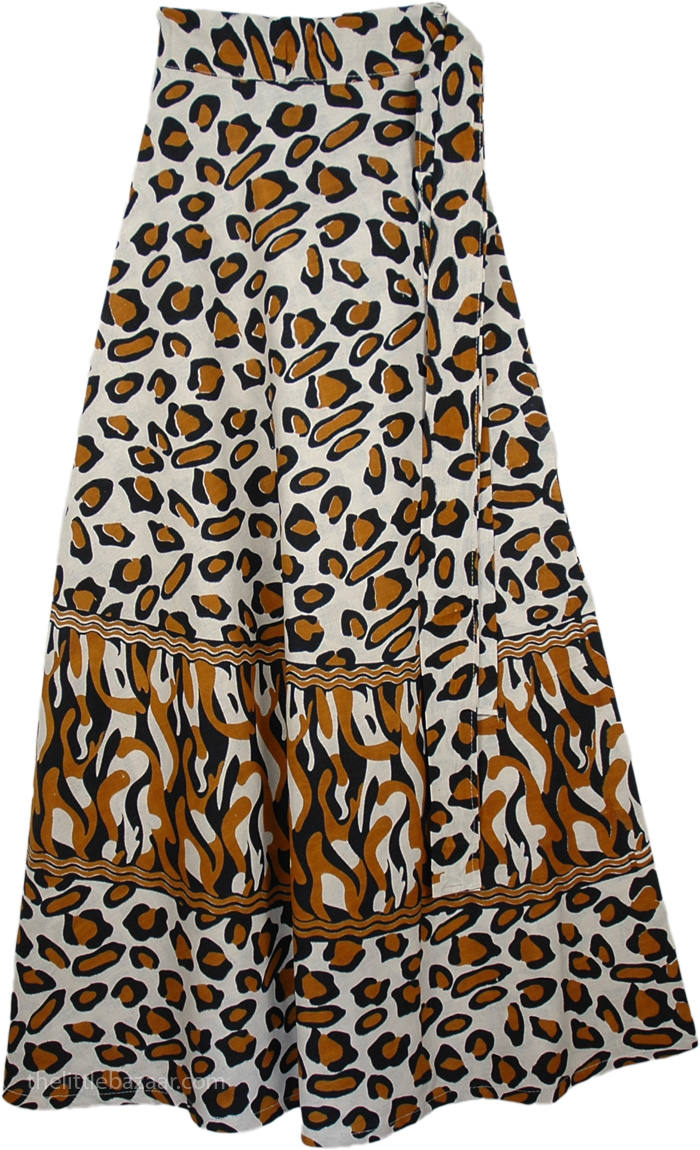 Brown Animal Print Cotton Wrap Around Skirt, Brown Leopard Print Wrap Skirt