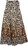 Brown Leopard Print Wrap Skirt
