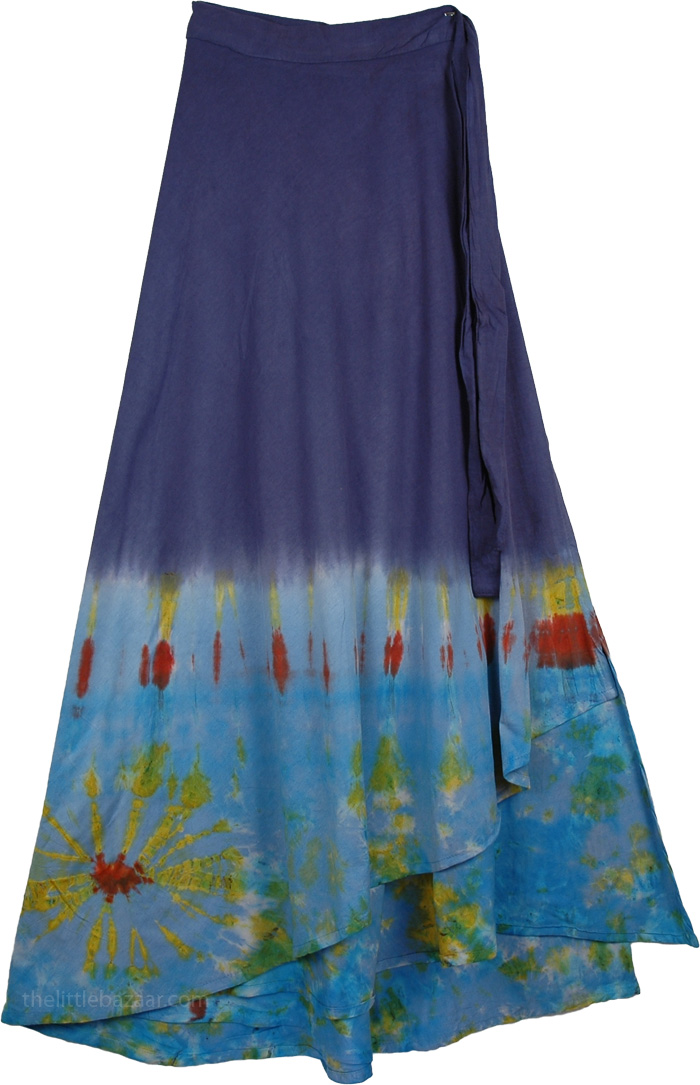 Astral Tiedye Wrap Skirt, Mirage Wrap Around Comfort Skirt