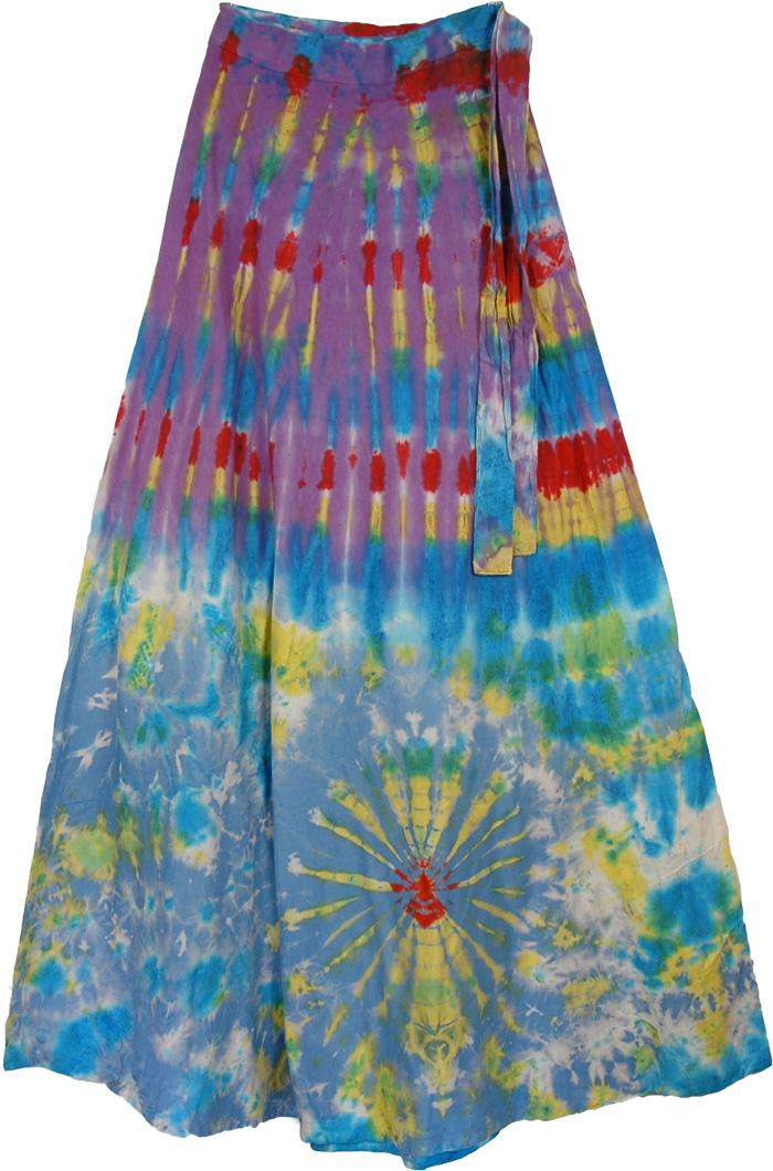 Wheels Colorful Tie Dye Long skirt , Eminence Cotton Panel Wrap Around Skirt