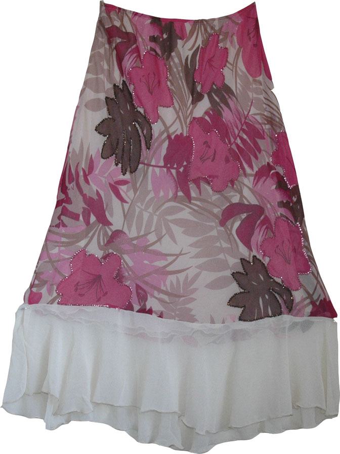 Designer long skirt with sequins perfect womens skirt for any occasion Floral pink and white skirt in georgette, Romantic Womens Long Skirt