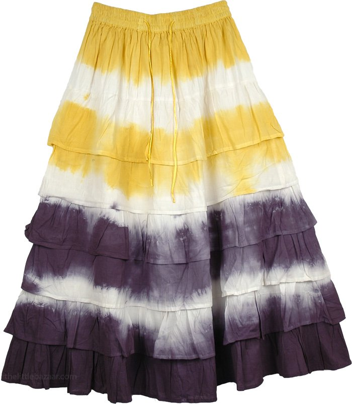 Multiple Tiered Skirt in Yellow, Thunder and Yellow Layered Skirt