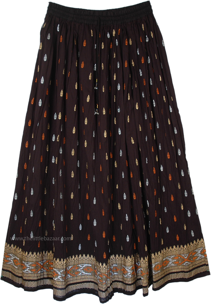Golden Black And Orange Ethnic Skirt, Crinkle Fiesta Black Orange Cotton Skirt
