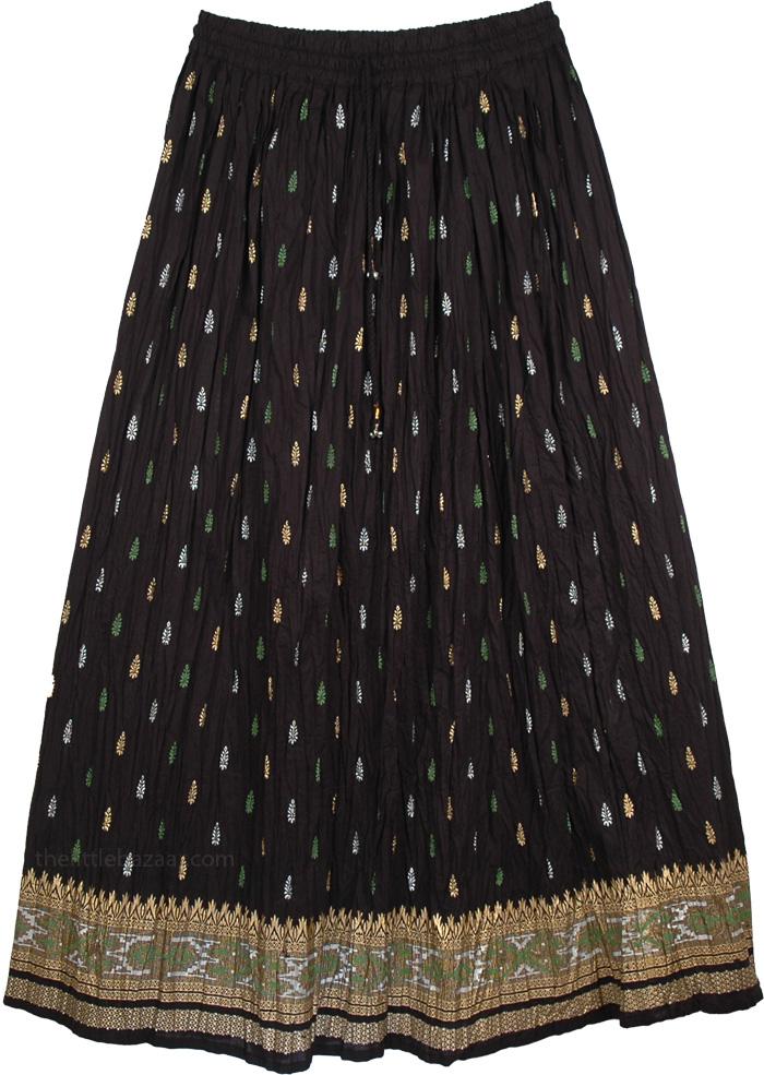 Golden Black And Green Ethnic Skirt, Crinkle Fiesta Black Skirt