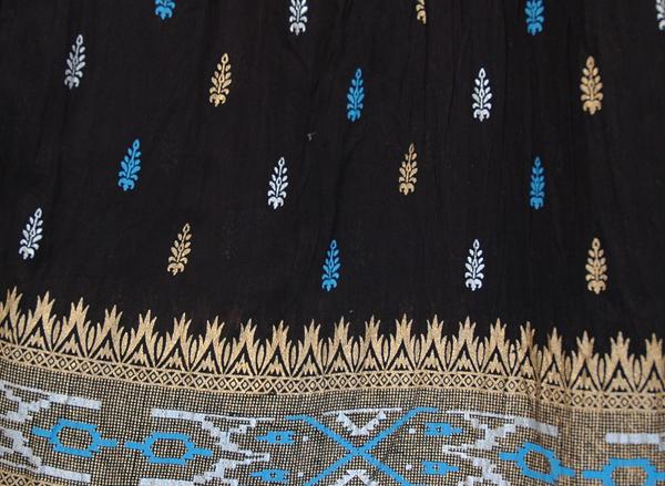 Royal Blue Block Print Black Skirt