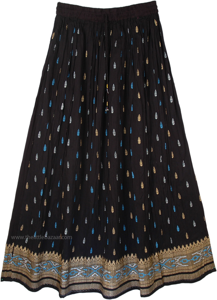 Crinkled Black Pattern Long Skirt, Royal Blue Block Print Black Skirt