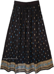 Royal Blue Block Print Black Skirt