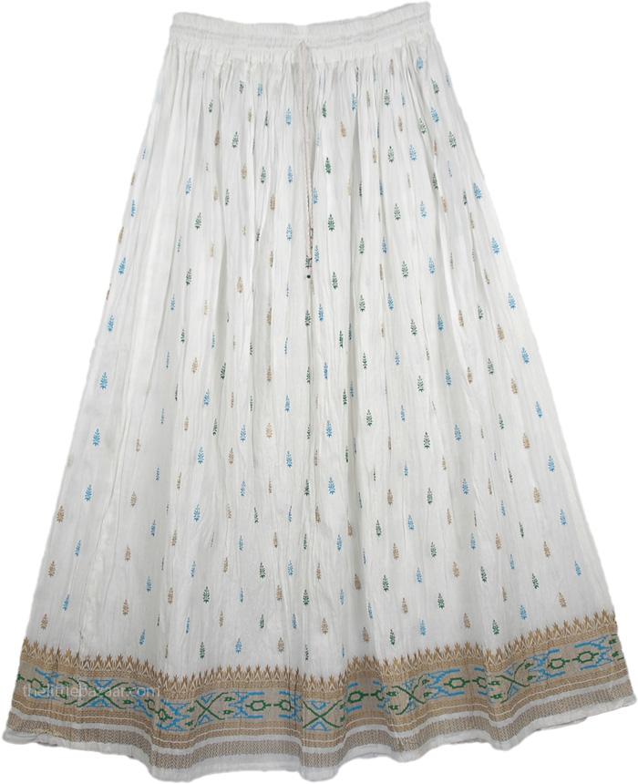 Golden White And Green Ethnic Skirt, Crinkle Fiesta White Skirt