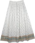 Golden White And Green Ethnic Skirt [3480]