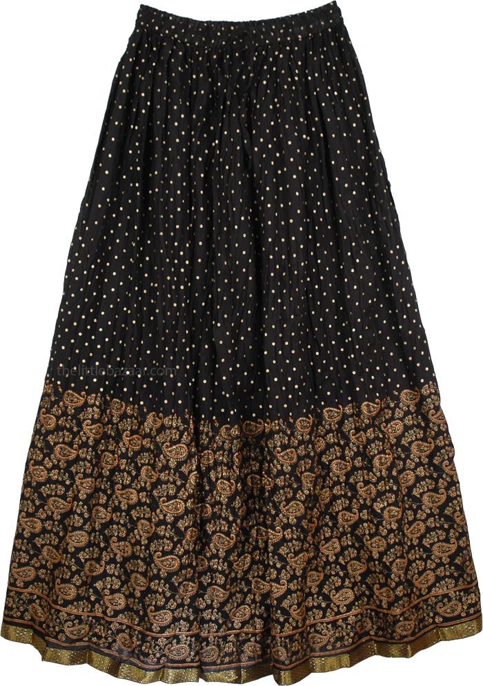 Golden and Black Polka Skirt, Night Sky Crinkled Light Beach Skirt