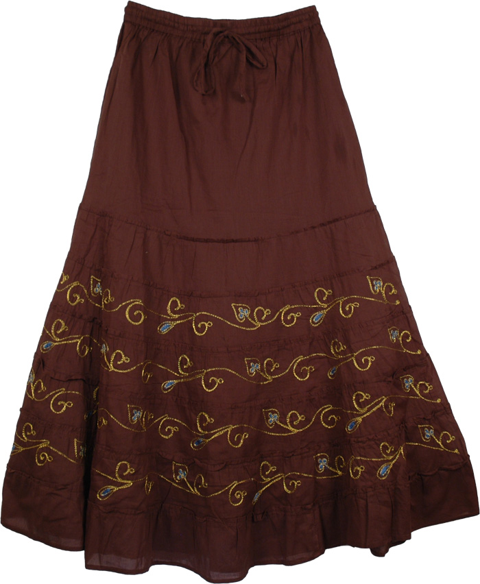 Brown Skirt with Golden Embroidery, Choco Shiraz Cotton Skirt