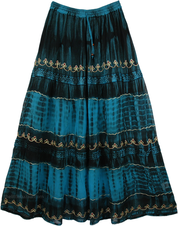 Blue Tie Dye Skirt with Embroidery, Courtesan Blue Gorgeous Skirt
