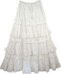 Westar White Frills  Long Skirt