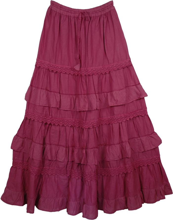 Pink Cotton Extra Long Skirt, Stiletto Pink Frills Tall Skirt