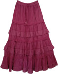 Pink Cotton Extra Long Skirt [3489]