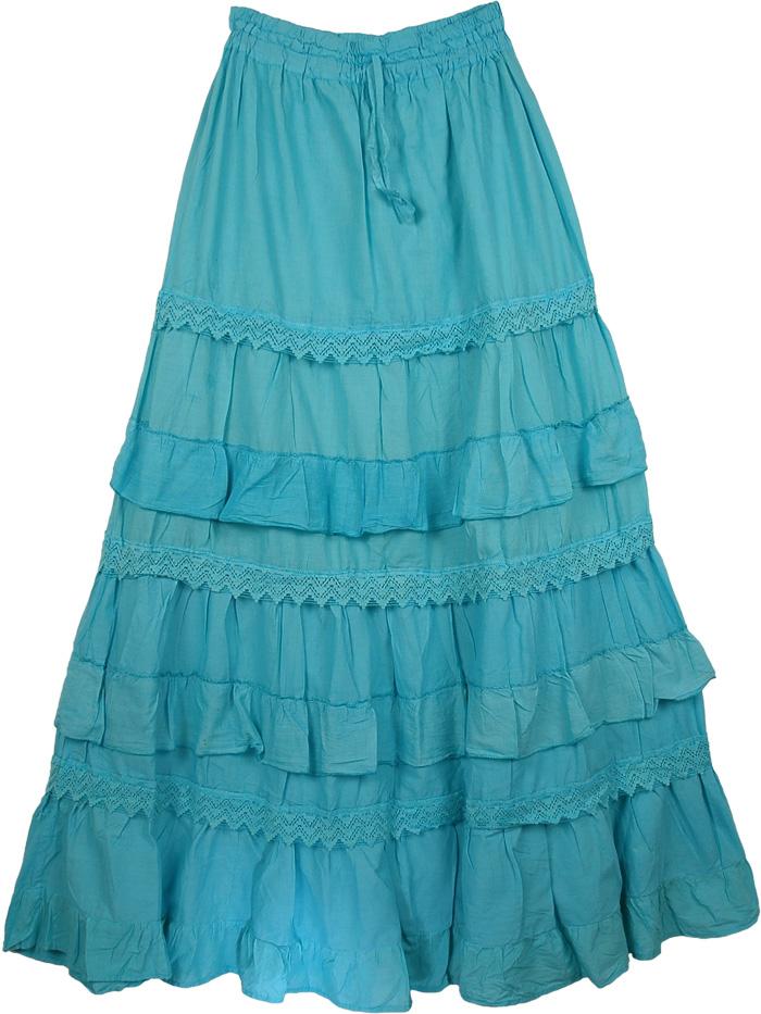 Blue Cotton Extra Long Skirt, Bondi Blue Frills Tall Skirt