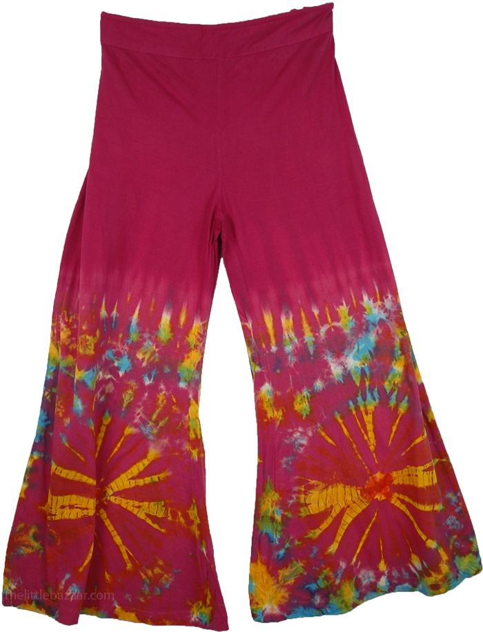 Tie Dye Colorful Purple Pant, Tantra TieDye Gaucho Pants