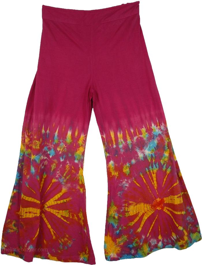 Tie Dye Colorful Purple Pant, Tantra TieDye Gaucho Pants