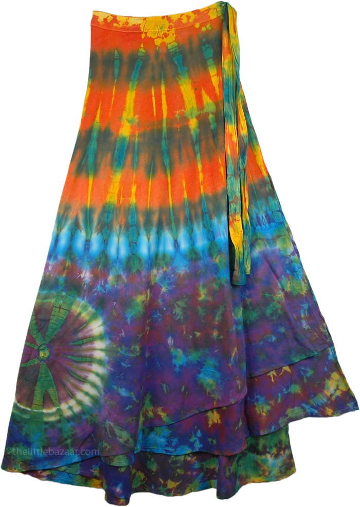 Bright Colorful Tie Dye Long skirt , Hotice Cotton Wrap Around Long Skirt