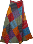 Siksika Striped Patchwork Wrap Skirt