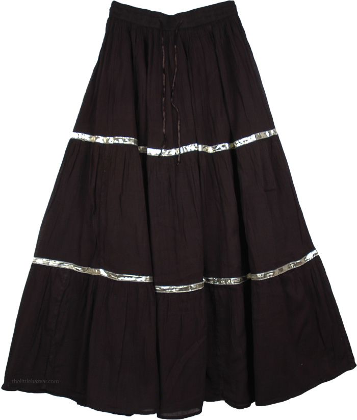 Black Long Cotton Skirt Shining Ribbon, Black Hippie Cotton Long Skirt